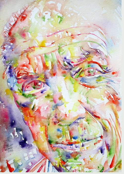 Pablo Greeting Card featuring the painting Picasso Pablo Watercolor Portrait.2 by Fabrizio Cassetta
