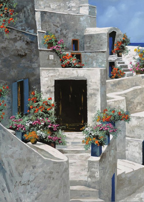 Landscape Greeting Card featuring the painting piccole case bianche di Grecia by Guido Borelli