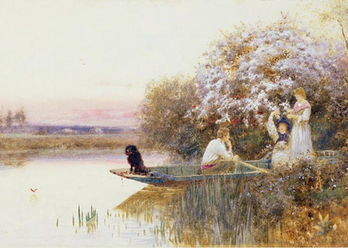 Landscape Greeting Card featuring the painting Picking Blossoms by Thomas James Lloyd