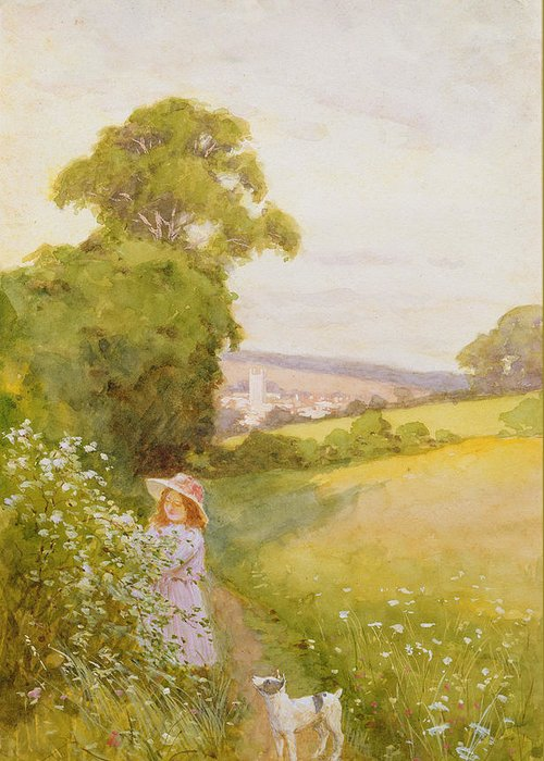Girl Greeting Card featuring the painting Picking Flowers by Thomas Frederick Mason Sheard