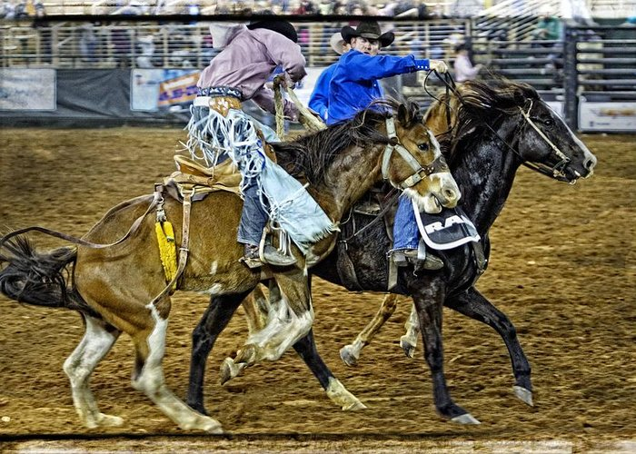 Bronc Greeting Card featuring the photograph Pickup From The Bronc by Alice Gipson