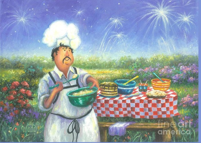 Chefs Greeting Card featuring the painting Picnic Chef by Vickie Wade
