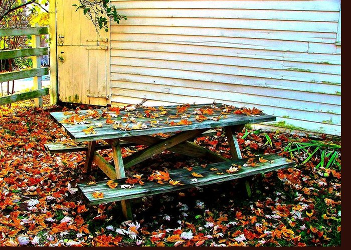 Autumn Greeting Card featuring the photograph Picnic Table In Autumn by Julie Dant