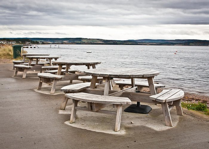 Al Fresco Greeting Card featuring the photograph Picnic Tables by Tom Gowanlock