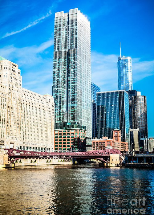 300 North Lasalle Building Greeting Card featuring the photograph Picture Of Chicago River Skyline At Franklin Bridge by Paul Velgos