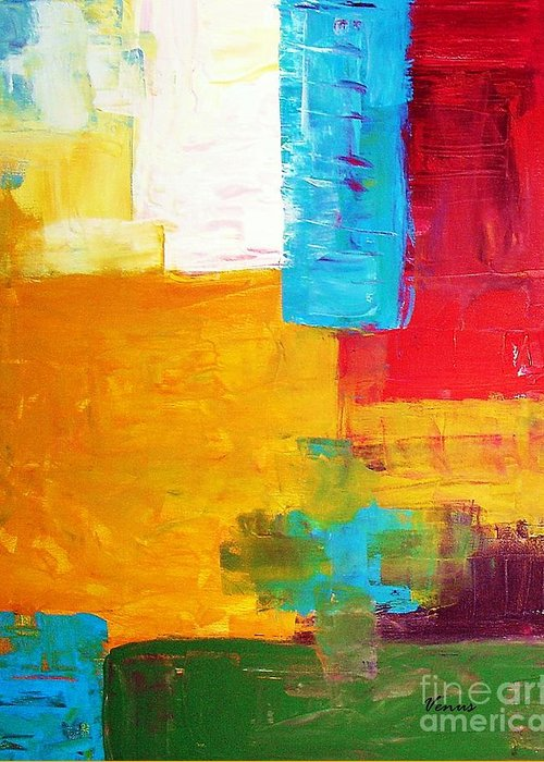 Abstract Greeting Card featuring the painting Pieces by Venus