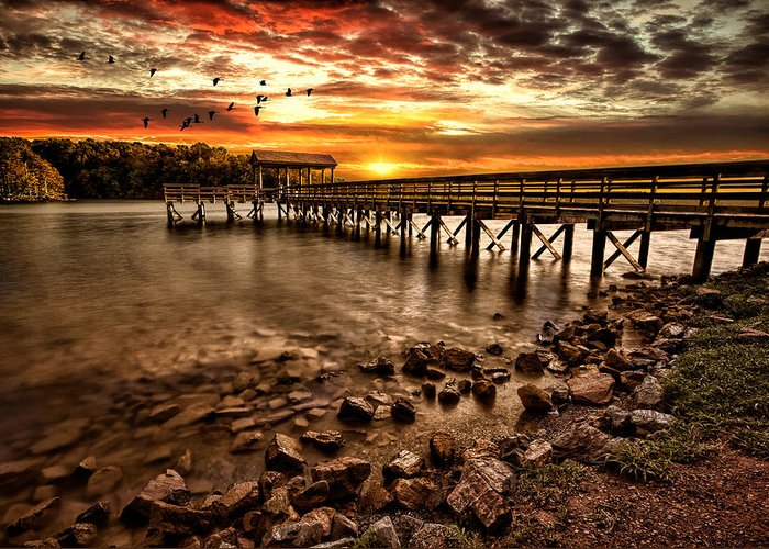 Pier Greeting Card featuring the photograph Pier At Smith Mountain Lake by Joshua Minso