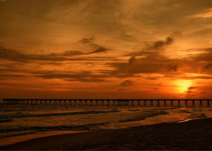 Pier Greeting Card featuring the photograph Pier At Sunset by Sandy Keeton