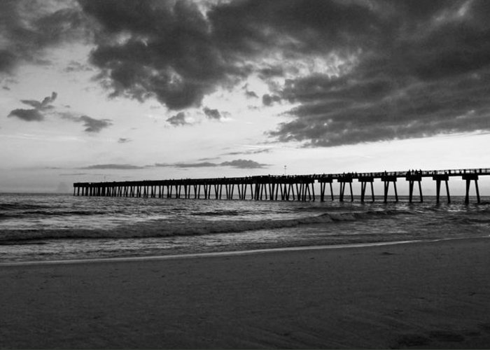 Pier Greeting Card featuring the photograph Pier In Black And White by Sandy Keeton