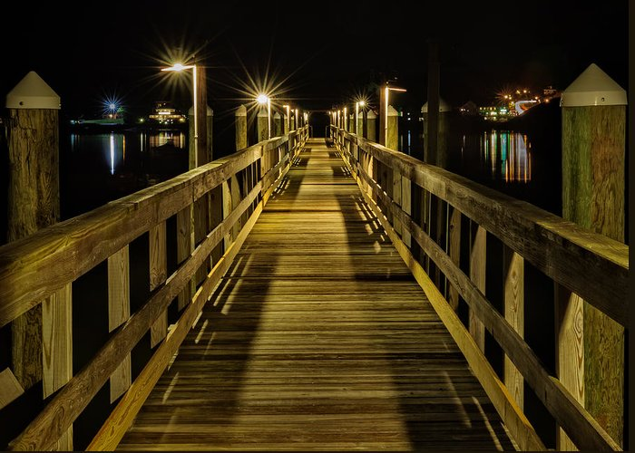 Edgecomb Greeting Card featuring the photograph Pier Into The Night by Len Saltiel