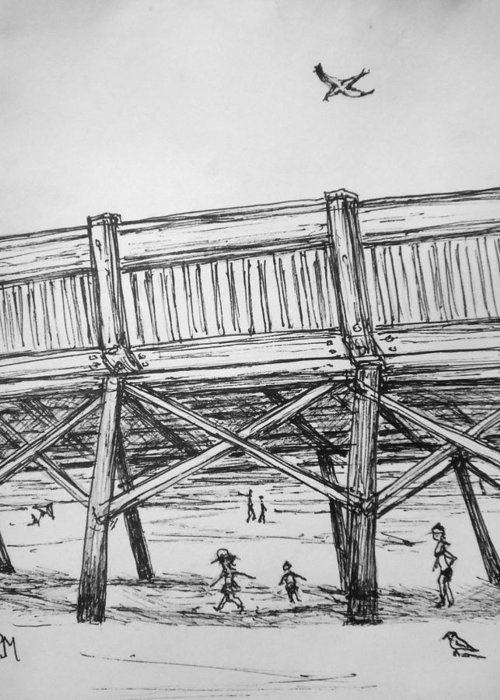 Beach Greeting Card featuring the drawing Pier Pressure by Pete Maier