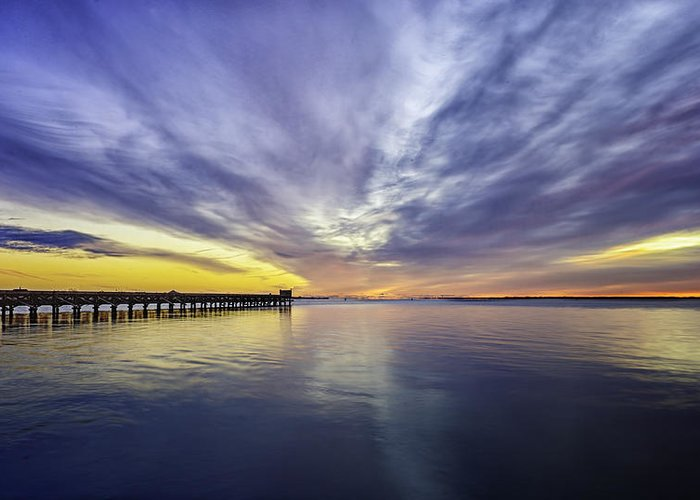 Pier Greeting Card featuring the photograph Pier Sunrise by Vicki Jauron