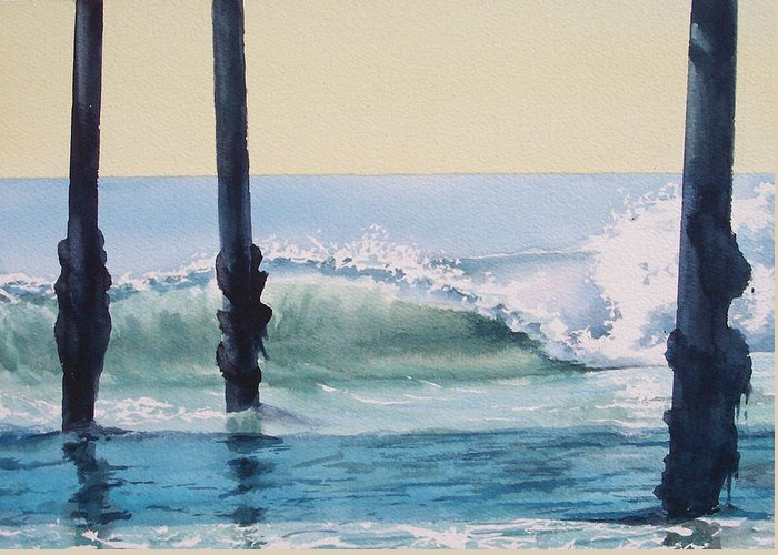 Wave Greeting Card featuring the painting Pier Wave by Philip Fleischer