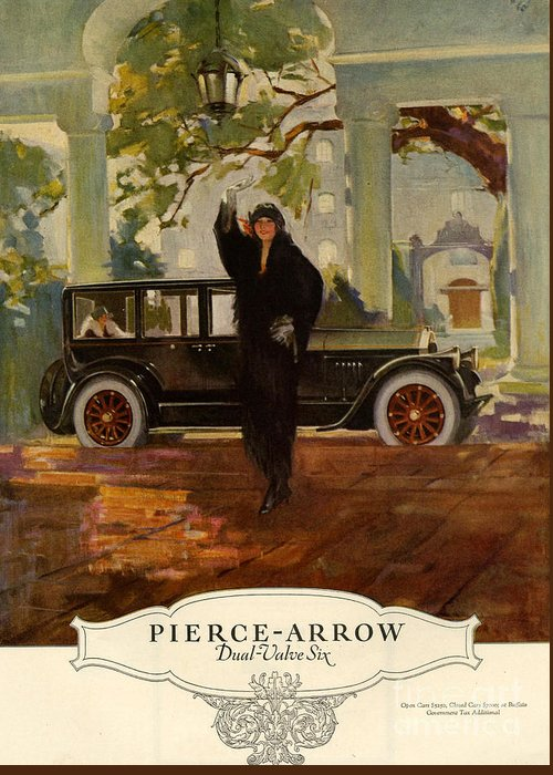 1920�s Greeting Card featuring the drawing Pierce-arrow 1920s Usa Cc Cars Pierce by The Advertising Archives