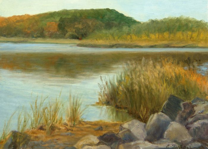 Landscape Greeting Card featuring the painting Piermont Shoreline by Phyllis Tarlow