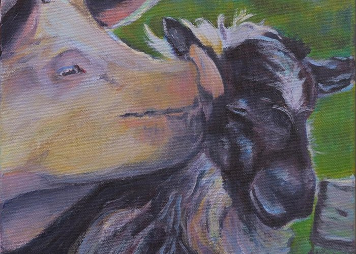 Animals Greeting Card featuring the painting Pig Smack by Stephanie Allison