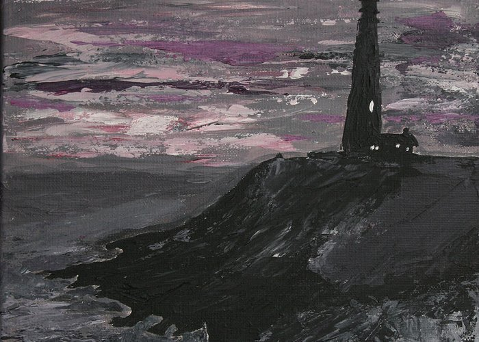 Ocean Greeting Card featuring the painting Pigeon Lighthouse Impasto Sunset Monochromatic by Ian Donley