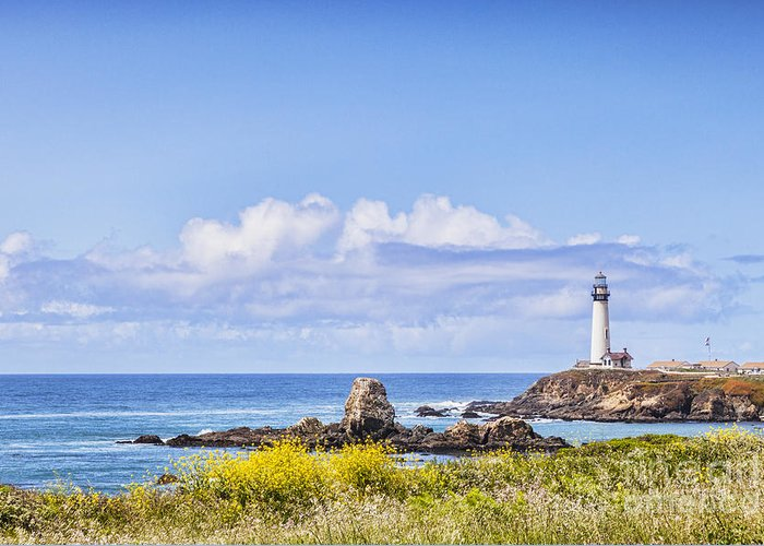 Pigeon Point Greeting Card featuring the photograph Pigeon Point Lighthouse California by Colin and Linda McKie