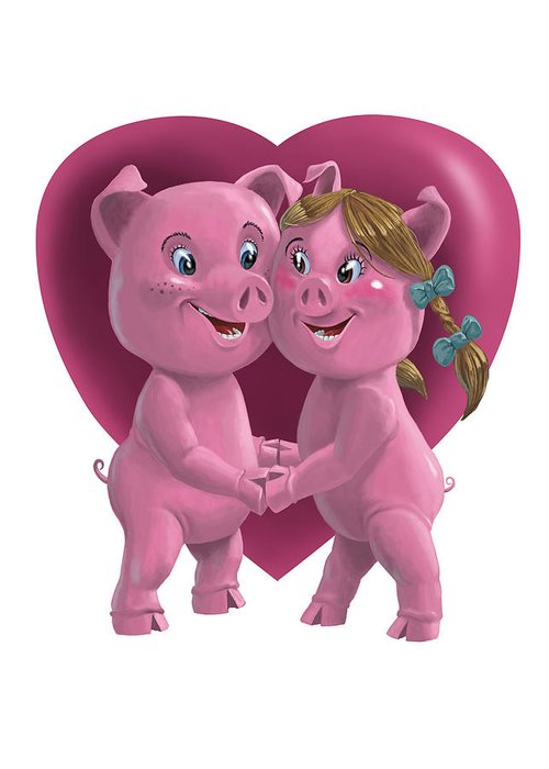 Love Greeting Card featuring the painting Pigs In Love by Martin Davey
