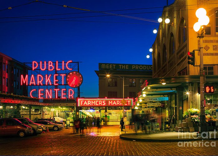 Seattle Greeting Card featuring the photograph Pike Place Market by Inge Johnsson