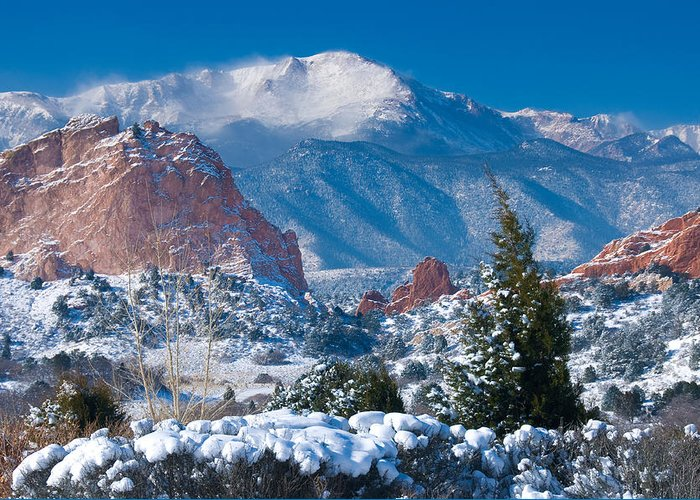 Colorado Greeting Card featuring the photograph Pikes Peak In Winter by John Hoffman