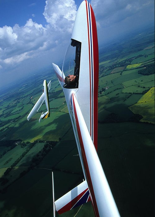 Gliders For Sale >> Pilatus B4 Gliders Performing Formation Aerobatics Greeting Card For