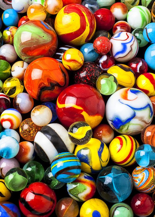 Pile Greeting Card featuring the photograph Pile Of Marbles by Garry Gay