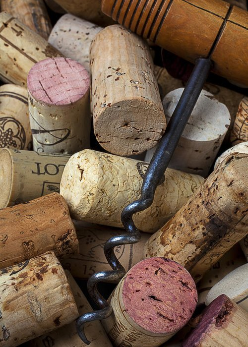 Wine Greeting Card featuring the photograph Pile Of Wine Corks With Corkscrew by Garry Gay