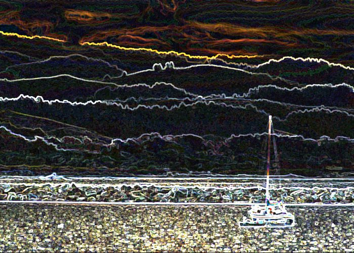 Sailboat Greeting Card featuring the photograph Pillar Point Harbor Below Half Moon Bay Hills by Scott Lenhart