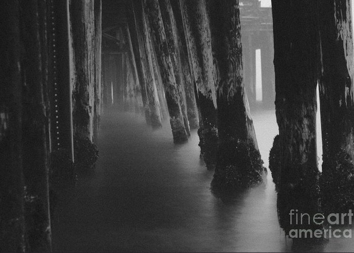 Pier Greeting Card featuring the photograph Pillars And Fog 1 by Paul Topp