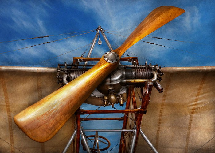 Plane Greeting Card featuring the photograph Pilot - Prop - They Don't Build Them Like This Anymore by Mike Savad