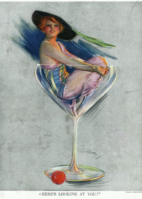 1914 Greeting Card featuring the drawing Pin Up, 1914 by Granger