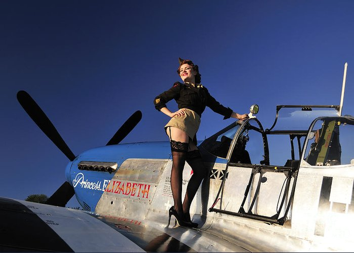Pin-up Girls Greeting Card featuring the photograph Pin-up Girl Standing On The Wing by Christian Kieffer