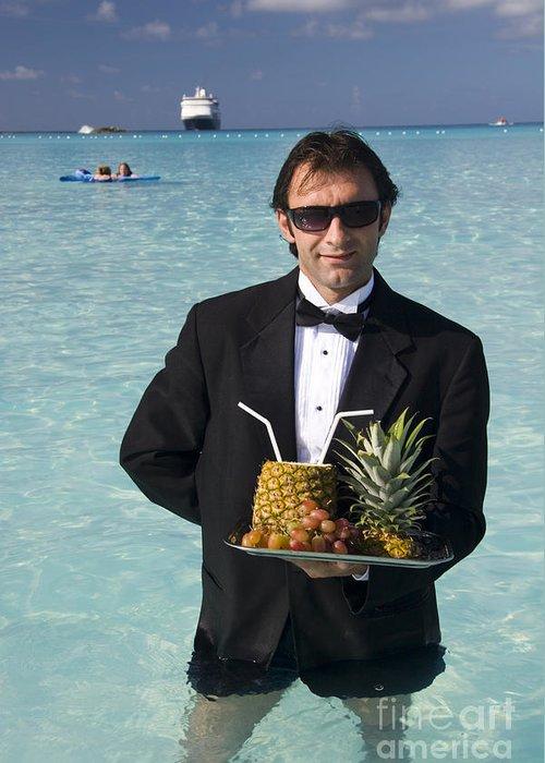 Waiter Beach Tuxedo Service First Class Cruise Ship Caribbean Tr Greeting Card featuring the photograph Pina Colada Anyone by David Smith
