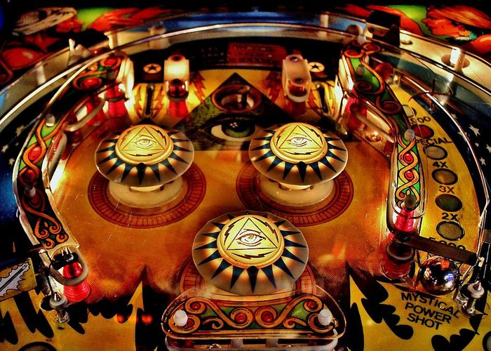 Pinball Greeting Card featuring the photograph Pinball All Seeing Eye by Benjamin Yeager