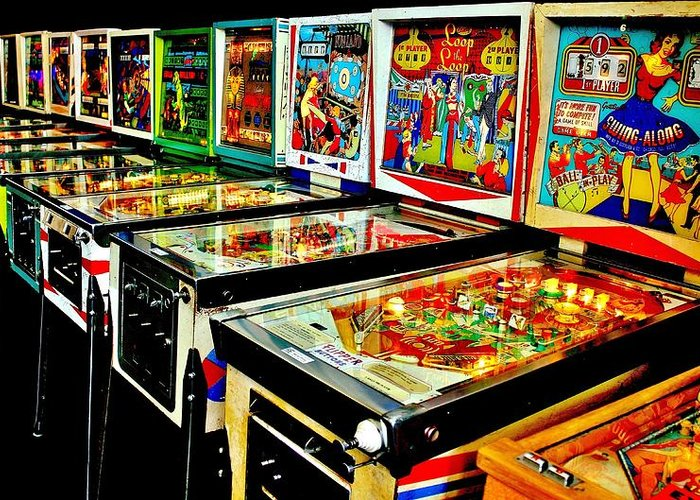 Pinball Greeting Card featuring the photograph Pinball Alley by Benjamin Yeager