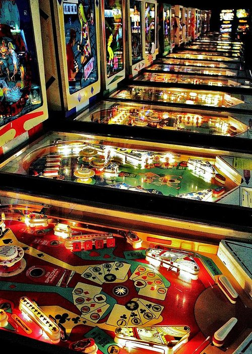 Pinball Greeting Card featuring the photograph Pinball Arcade by Benjamin Yeager