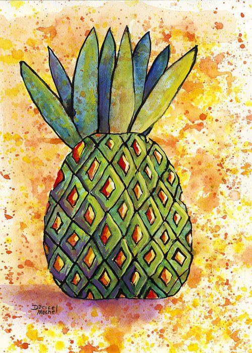 Fruit Greeting Card featuring the painting Pineapple Fun by Darice Machel McGuire