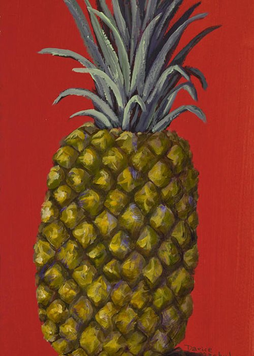 Kitchen Greeting Card featuring the painting Pineapple On Red by Darice Machel McGuire