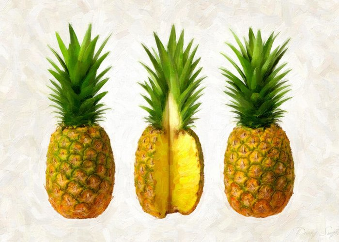 Pineapple Greeting Card featuring the painting Pineapples by Danny Smythe