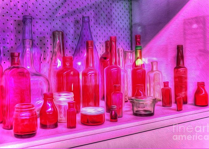 Photography Greeting Card featuring the photograph Pink And Red Bottles by Kaye Menner