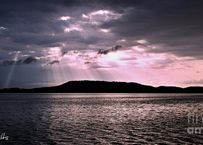 Greeting Card featuring the photograph Pink Angel Rays -sunrise by Geoff Childs