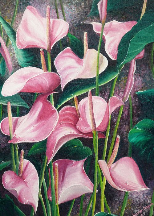 Floral Flowers Lilies Pink Greeting Card featuring the painting Pink Anthuriums by Karin Dawn Kelshall- Best