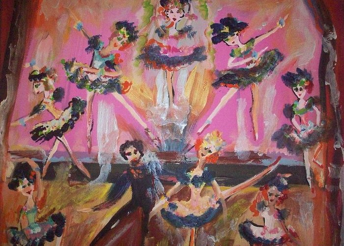 Waltz Greeting Card featuring the painting Pink Apple Waltz by Judith Desrosiers