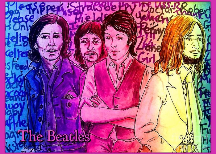 The Beatles Greeting Card featuring the photograph Pink Beatles From Rainbow Series by Joan-Violet Stretch