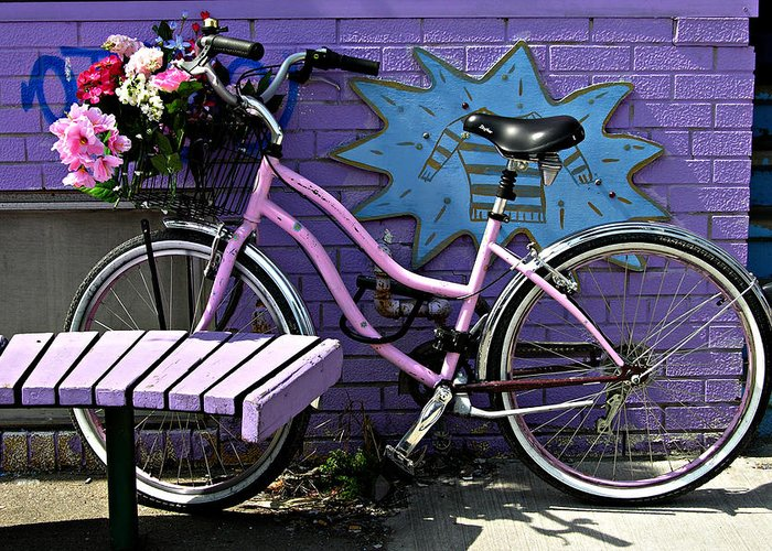 Pink Bicycle Greeting Card featuring the photograph Pink Bicycle by John Jacquemain