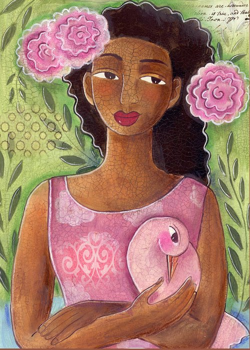 African American Greeting Card featuring the painting Pink Bird by Elaine Jackson