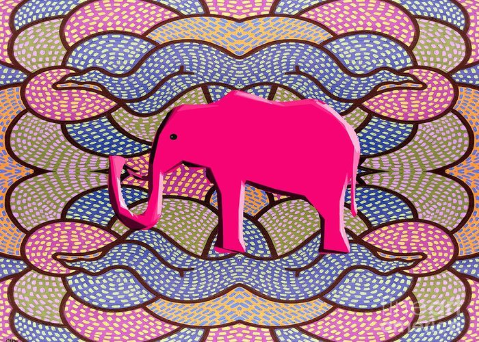 Prints And Cards Greeting Card featuring the painting Pink Elephant by Patrick J Murphy