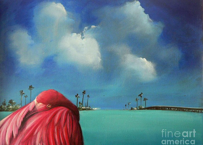 Acrylics Greeting Card featuring the painting Pink Flamingo by - Artificium -