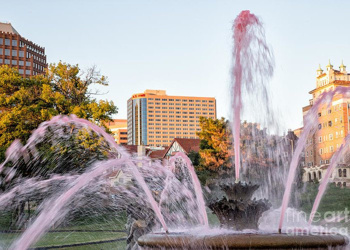 Fountain Greeting Card featuring the photograph Pink Fountain For Breast Cancer by Terri Morris